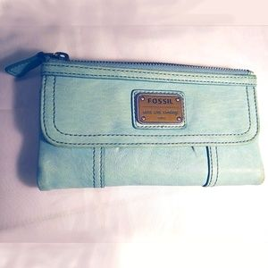 Baby Blue Vintage Fossil Wallet full size